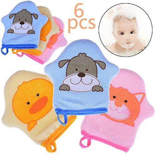 Xgood 6 Pcs Baby Bath Glove Cute Animal Baby Bath Sponge Toddler Soft Shower Brush Cotton Towel Ball Rubbling Towel Foam Shower Sponge