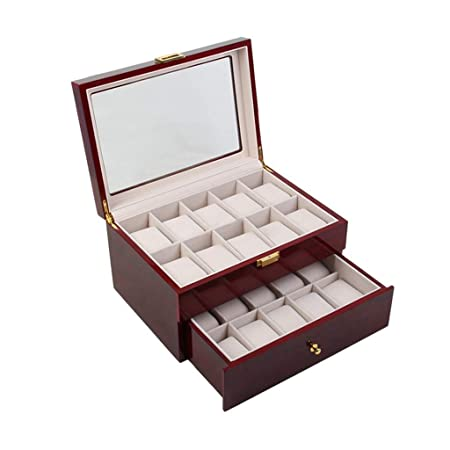 BAIF 20 Rejillas Caja de Almacenamiento de Reloj de Doble Capa ...