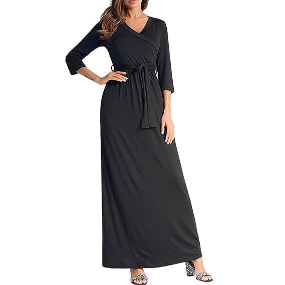 678e2820a8bb Robes pour Femmes Vintage Cute Swing Dress - Solid Color Col V Ceintures  Big Pendulum Dress