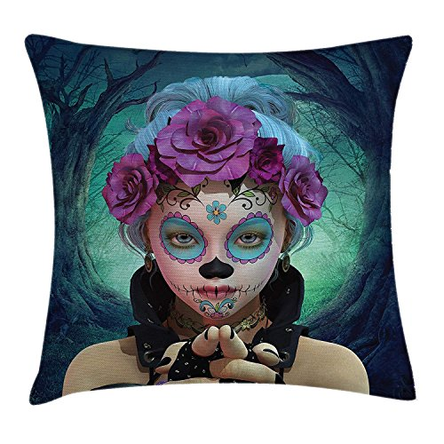 Horror Throw Pillow Cushion Cover, Scary Clown Like Girls Showing her Hands with Gloves an Flowers in Her Head Print, Decorative Square Accent Pillow Case,Multicolor ()