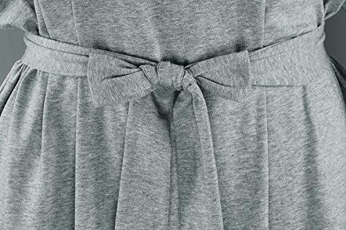 Robe D'été Newbely De Femmes Encolure Ras Du Cou Décontracté Solide Gris Lâche Robe Tunique Ceinturée Haut Surdimensionné