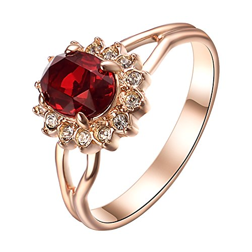 Yoursfs Sunflower Wedding Ring Ruby Red Rhinestone Inlaid Ring for Women Prom Party Fashion Jewelry (Stone Ring Red Ruby)