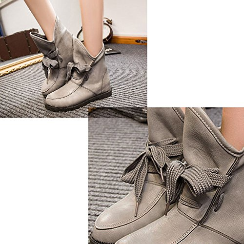 Gaorui women ladies short ankle boots faux leather biker boots casual boots slouch flat boots Grey 0gO9P