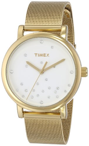 Timex Women's T2N9869J Originals Crystal Accents Gold-Tone Stainless Steel Mesh Band Watch