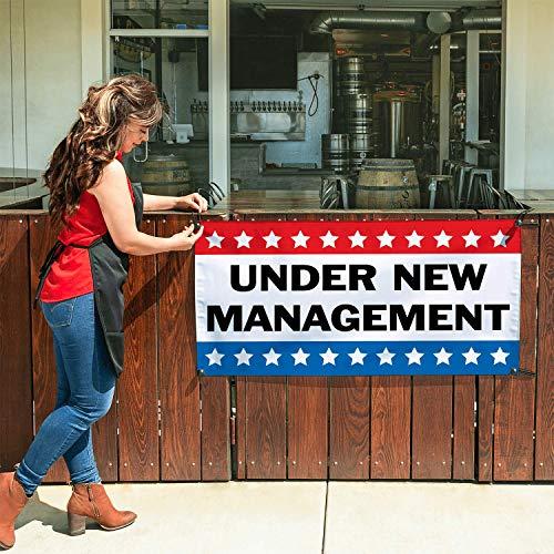 - HALF PRICE BANNERS   Under New Management Vinyl Banner-Indoor/Outdoor 2X4 Foot -Stars   Includes Ball Bungees & Zip Ties   Easy Hang Sign-Made in USA