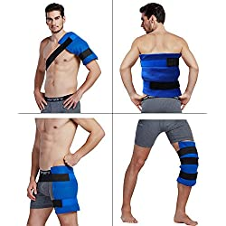Large Flexible Gel Ice Pack & Wrap with Elastic Velcro Straps for Hot Cold Therapy