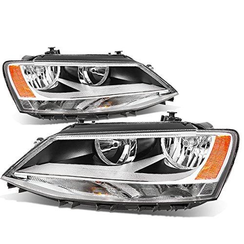 For VW Jetta 4-Door MK6/A6 Pair of Chrome Housing Amber Corner Headlight Lamp ()