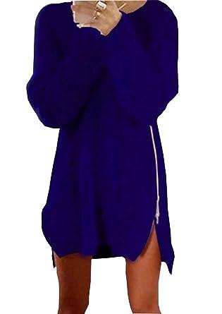 Pullover Largo Mujer Otoño Invierno Elegantes Moda Jersey Largo con Cremallera Abiertas Manga Larga Cuello Redondo Color Sólido Anchos Niñas Ropa Sudaderas ...