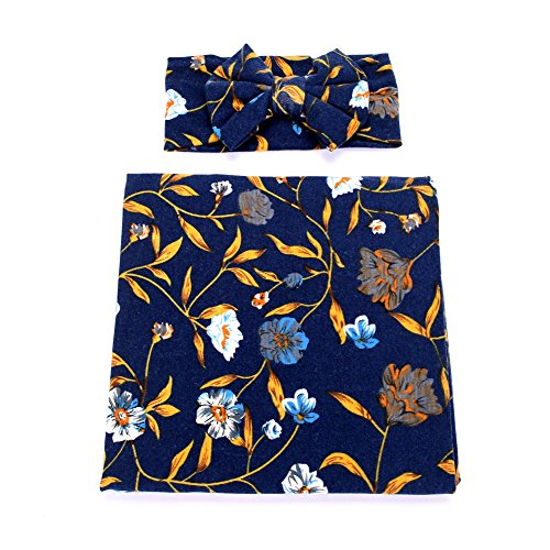 Galabloomer Newborn Receiving Blanket Headband Set Flower Print Baby Swaddle Receiving Blankets (Dark Blue) (Best Wishes For Newborn Baby Girl)