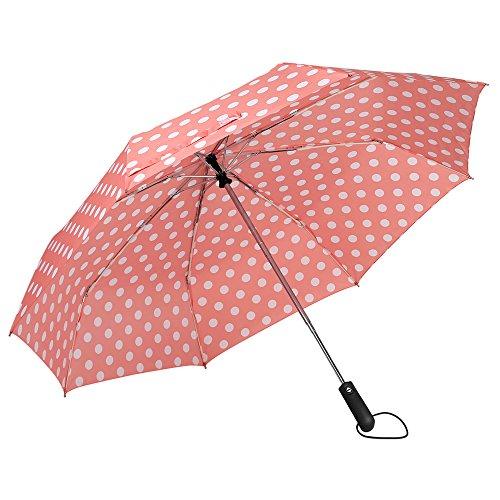 ZKDT Cute Polka Dots Tri-fold Travel Umbrella Compact Windproof Portable Umbrellas for Men Women and Kids (Pink) (Kids Pink Folding Umbrella)