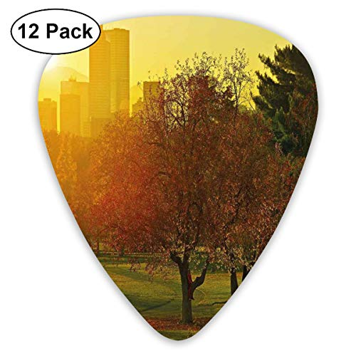 Guitar Picks 12-Pack,Sunset Over The City Park Colorado Skyline Autumn Theme Scenic Picture