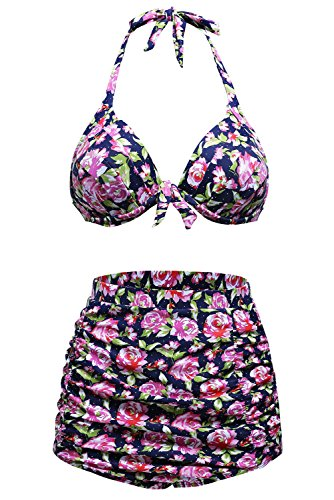 FARYSAYS Women Foral Vintage Halter High Waist Push Up 2pcs Carnival Swimsuit small