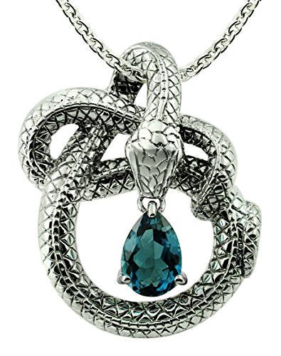 Sterling Silver 925 Pendant Necklace GENUINE GEMSTONE 3 Cts with RHODIUM-PLATED Finish, Snake Design (Sterling Silver Snake Design)