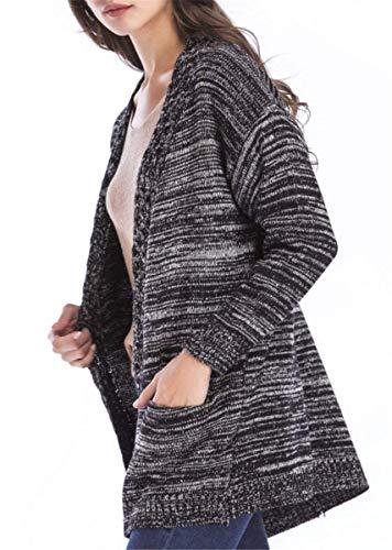 Eleganti Vintage Di Giovane Lunga Maglia Cardigan Invernali Calda Women Schwarz Cappotto Autunno Pullover Donna Alta Giacca A Manica Casual Qualità Fashion wIptFF