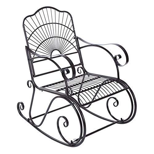 Vanity Classical (Dwawoo Iron Porch Rocking Chair, Classical Vanity Patio Rocking Chair for Home Office Outdoor Cafe)