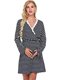 womens maternity pregnancy labor robe delivery nursing nightgowns hospital breastfeeding gown s xxl - Maternity Christmas Pajamas