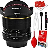 Opteka 6.5mm f/3.5 HD Aspherical Wide Angle Fisheye Lens for Nikon DSLR with Removable Hood and Optical Cleaning Kit
