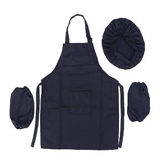 BESTONZON Kid cappello da chef grembiule set–Kit da cucina da indossare da cucina per bambini Dimensioni (L, nero)
