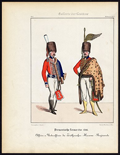 Antique Print-PRUSSIAN ARMY-ZIETEN (Hussar Costume)