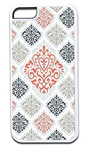01-Large and Small Damasks-Pattern- Case for the APPLE iPhone 5c, 5c -Hard White Plastic Outer Case with Tough Black Rubber Lining