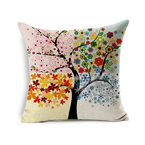Black Friday Deal Large Black Tree Red Heart leaves Sweetheart Bird Pattern Cotton Linen Throw Pillow Cushion Cover Case