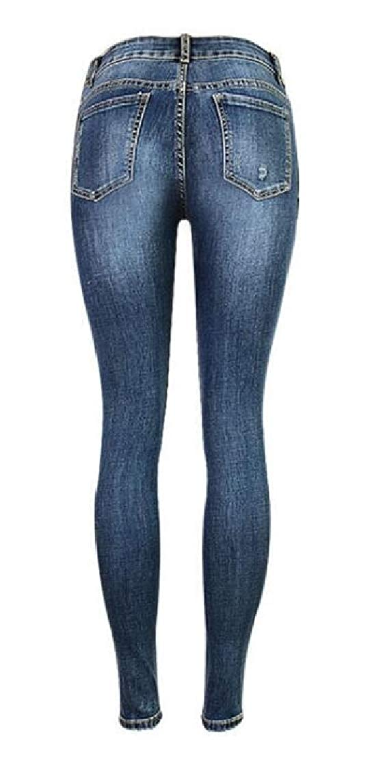 Zantt Womens High Waist Hole Ripped Juniors Distressed Plaid Check Slim Fit Casual Jeans Pants