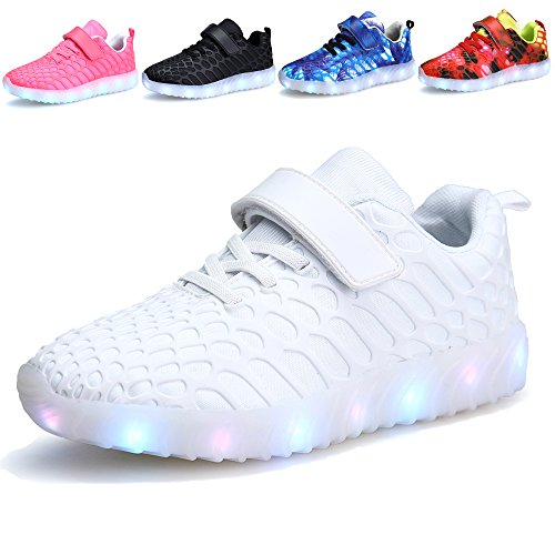 VIIRUN Little/Big Kids LED Light Up Running Shoes Boys and Girls USB Charging Flashing Sneakers For Christmas