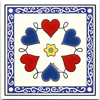 product image for Album Quilt Heart Wreath Design on Tile