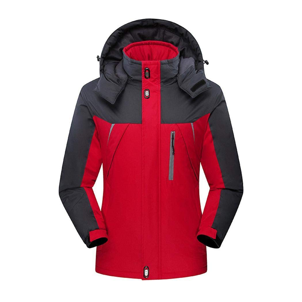 kiloid Men Women Winter Outdoor Sporting Hooded Long Sleeve Patchwork Zipper Jacket Track & Active Jackets Red