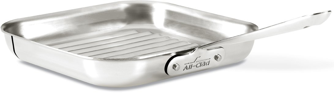 All-Clad 4020 Stainless Steel 3-Ply Bonded Dishwasher Safe Grill Pan Cookware, 11-Inch, Silver by All-Clad (Image #1)