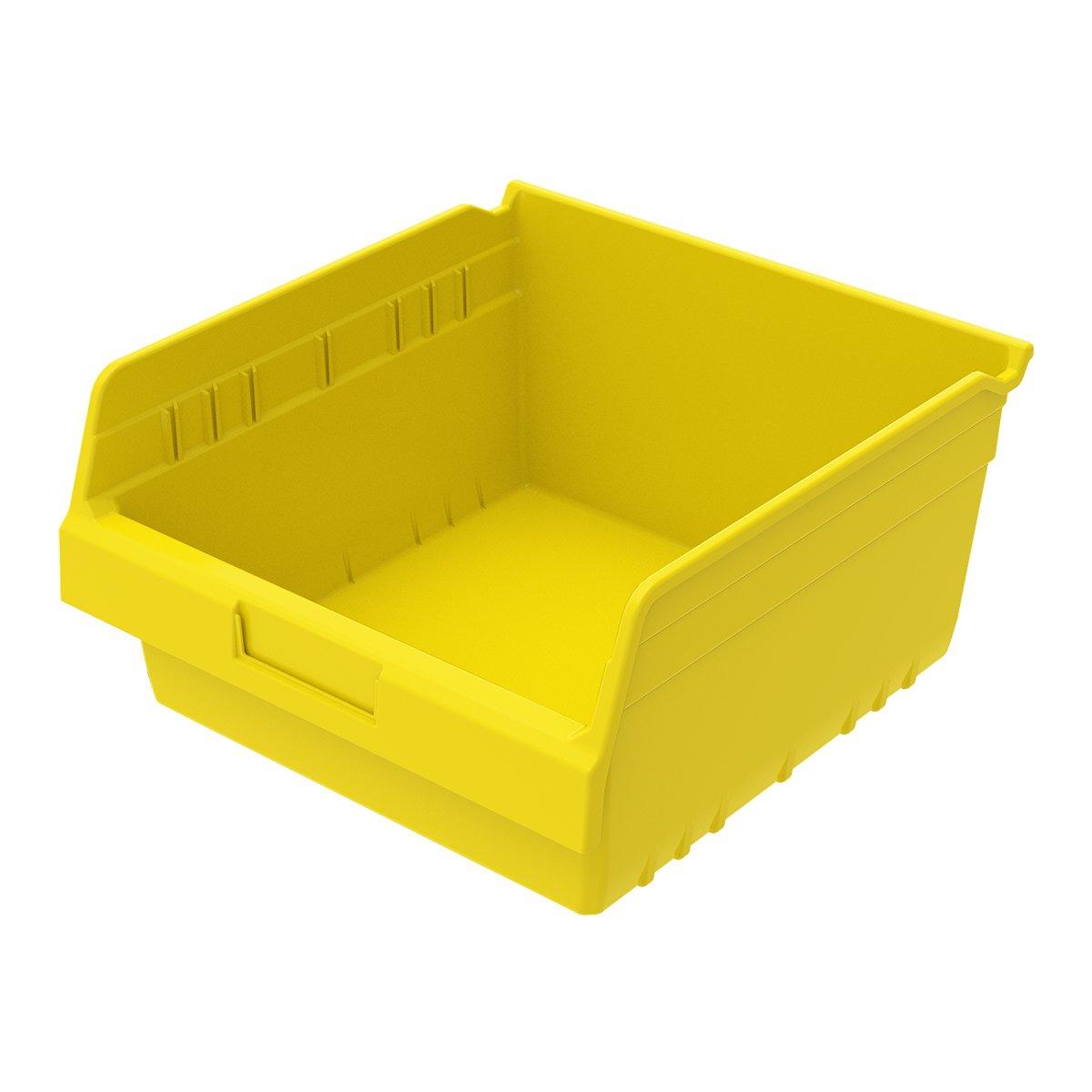 Akro-Mils 30010YELLO ShelfMax Plastic Nesting Shelf Bin Box, 11-5/8-Inch L x 11-1/8-Inch W x 6-Inch H,  Yellow,  8-Pack