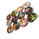 """Custom & Novelty {1"""" Inch} 12 Bulk Pack, Mid-Size Button Pin-Back Badges for Unique Clothing Accents, Made of Rust-Proof Metal w/ Colorful Silly Kitty Cats Set Outer Space Styles [Multicolor]"""