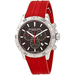 Raymond Weil Men's 'Tango 300' Swiss Quartz Stainless Steel and Rubber Casual Watch, Color:Red (Model: 8560-SR2-20001)