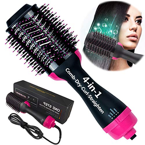One Step Hair Dryer and Styler 4-in-1 Multifunctional Hot air Brush Straightener-curl-Comb-Dryer, One Step Hair Dryer and volumizer Brush Feature Anti-Scald Reduce Frizz & Static Styling