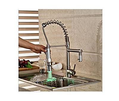 PST@ Swivel Spout Kitchen Faucet LED Light Pull Down Sprayer Mixer Tap Brushed Nickel with Hot Cold Water