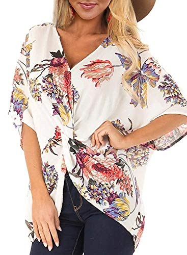 (Dressy Blouses for Women, Misyula Junior Slimming Clothes Summer Knitt Knot V Neck Short Sleeve Tops Comfortable Graceful Faddish Shirts Awesome Tasteful Popular Party Outfits Tunic White Flower M)