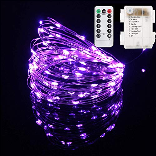 OMG! Outdoor Light Strings LED Copper Wire Lights, Each Set 33ft/10M 100LEDs and 1 Remote Control.AA Battery Powered,Decor Rope Lights for Holiday,Wedding, Parties.(Purple 1)