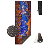 Unisex Fitness Yoga Mat Running Horses Oil Painting Unique Non-Slip Pattern Towels,Pilates Sports Paddle Board Yoga Exercise 24 X 71 Inches Durable Yoga Mats,All-Purpose