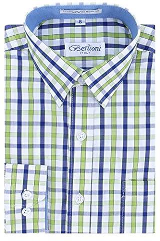 Boys Checkered Plaid Dress Shirt - Green, 6 - Button Down Plaid Dress Shirt