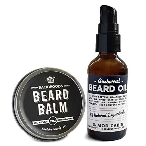 Beard Balm + Beard Oil Pump Set - Wood & Smoke -...