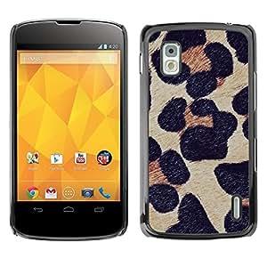 Estuche Cubierta Shell Smartphone estuche protector duro para el teléfono móvil Caso LG Google Nexus 4 E960 / CECELL Phone case / / leopard pattern fur animal nature /