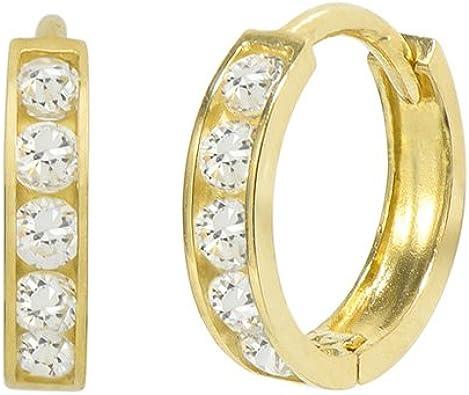 14k Yellow Gold Round Cubic Zirconia Channel Hoop Earrings, 25mm X 25mm