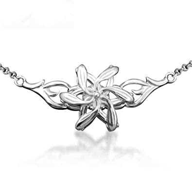 Sterling silver lord of the rings elvish galadriel nenya flowers sterling silver lord of the rings elvish galadriel nenya flowers pendent necklace with cubic zirconia aloadofball Image collections
