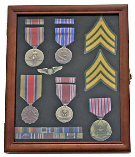 Medal Display Case Award Shadow Box, with glass door, Wall Mountable, Walnut Finish (Award Medals Display Case compare prices)