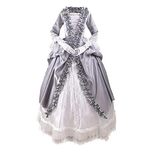Unbranded* Grey Ruffles White Lace Renaissance Victorian Prom Dresses (Large) (Renaissance Ball Gown)