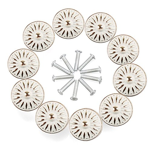 Cabinet Knob, RilexAwhile Ivory White 33mm Drawer Knobs Door Pull Handle for Dresser Cupboard Cabinet Wardrobe, 10 Pack by RilexAwhile