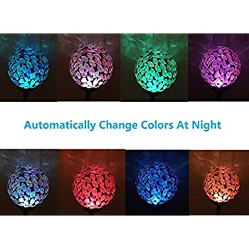 "Set of 3 Ball Lights, Solar Mosaic 3.5"" Crackle Glass Ball, Multi-color Color Change Garden Stake Yard LED Light"
