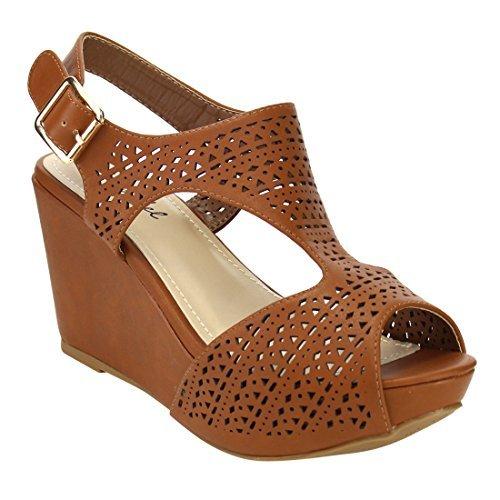 - Bonnibel FJ01 Women's Platform Wedge Heel Cut Out Sling Back Sandals