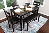 4 Person - 5 Piece Kitchen Dining Table Set - 1 Table, 3 Leather Chairs & 1 Bench Espresso Brown J150232Espresso