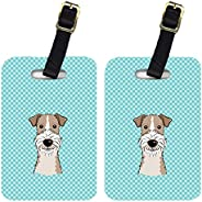 Caroline's Treasures BB1185BT Pair of Checkerboard Blue Wire Haired Fox Terrier Luggage Tags, Large, Multi